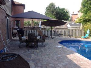 backyard pool seating area