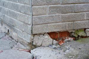 Waterproofing Newmarket, Waterproofing Foundation Repair - Warning Signs. House foundation repair. Foundation Repair. Broken Foundation House Brick Wall.