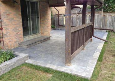 back yard stone patio