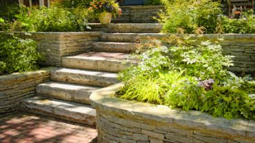 Natural stone landscaping front